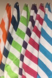 12 Units of Cabana Stripe 100% Beach Towels Assorted Colors Size 30x60 - Beach Towels