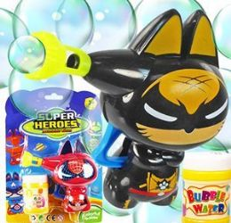 48 Units of Friction Powered Super Heroes Carded Bubble Guns - Bubbles