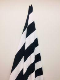 12 Units of Black And White Cabana Striped Beach Towel - Beach Towels