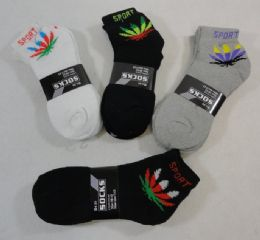 24 Units of Men's Anklets 10-13 [marijuana/sport] Blk/gry/white - Mens Ankle Sock