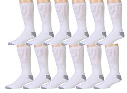 12 Pairs Value Pack of Wholesale Sock Deals Womens Cotton Crew Socks, White with Gray Heel Toe, 9-11 - Womens Crew Sock
