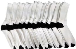 12 Pairs Value Pack of Wholesale Sock Deals Womens Cotton Crew Socks, White with Black Heel Toe, 9-11 - Womens Crew Sock