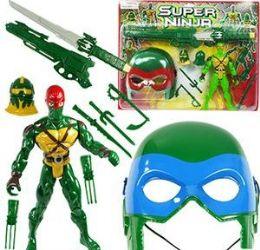 6 Units of 11 Piece Super Ninja Play Sets - Toy Sets