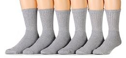 6 Pairs of Men's Heavy Duty Steel Toe Work Socks, Gray, Sock Size 10-13 - Mens Crew Socks