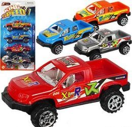 72 Units of 4 Piece Pull Back Pickup Truck Sets - Cars, Planes, Trains & Bikes