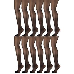 12 Pack of Mod & Tone Sheer Support Control Top 30D Womens Pantyhose (Black, QN-1) - Womens Tights