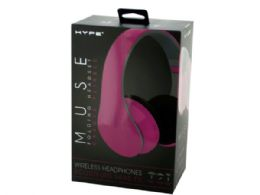6 Units of Pink Hype Muse Folding Wireless Headphones with Built-In Mic - Headphones