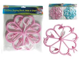 72 Units of Flower Shaped Clothes Laundry Drying Rack With 8 Clips. Blue, Pink - Clothes Pins