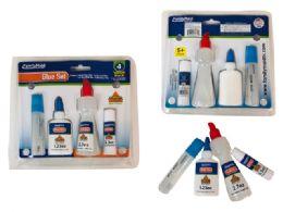 48 Units of 4 Pack School Glue Set - Glue Office and School