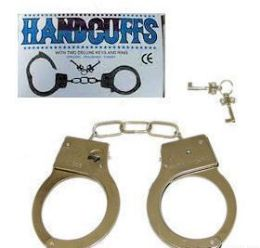 144 Units of Chrome Plated Metal Handcuffs - Magic & Joke Toys