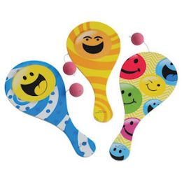 72 Units of Smiley Face Paddle Balls - Balls