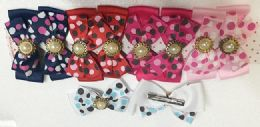 50 Units of Girls Polka Dot Rhinestone Assorted Colored Hair Clip - Hair Accessories