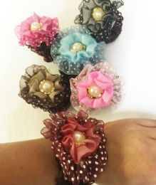8 Units of Hair Band Polka Dot Pearl Color Assorted - Hair Scrunchies