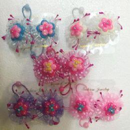 60 Units of Flower Hair Band - Hair Scrunchies
