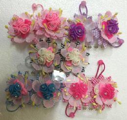 60 Units of Grid Flower Hair Band - Hair Scrunchies
