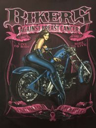 12 Units of Large Decal T-Shirt Bikers Against Breast Cancer - Mens T-Shirts