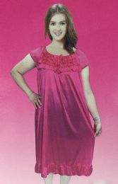 12 Units of Lady's Long 1 Pieces Pajama/color Size Assorted - Women's Pajamas and Sleepwear