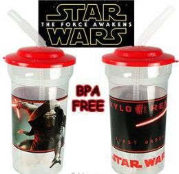 24 Units of Star Wars Acrylic Travel Cups W/ Lid & Straw - Plastic Drinkware