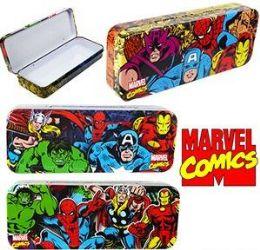 96 Units of Marvel Comics Metal Pencil Boxes - Pencil Boxes & Pouches