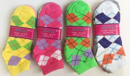72 Units of Woman grid socks/color assorted - Womens Ankle Sock