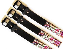 48 Units of Studded Belt Red Skull & Flowers - Kid Belts