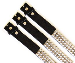 48 Units of No Buckle Black & Silver Belt - Unisex Fashion Belts