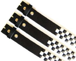 48 Units of No Buckle Studded Black & White Belt - Unisex Fashion Belts