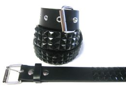 48 Units of Pyramid Studded Black Belt - Unisex Fashion Belts