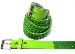 48 Units of Pyramid Studded Green Belt - Unisex Fashion Belts
