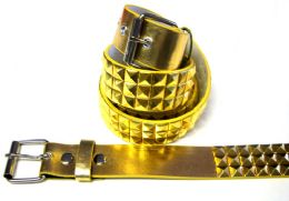 48 Units of Pyramid Studded Gold Belt - Unisex Fashion Belts