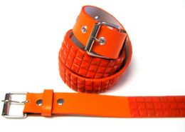 48 Units of Pyramid Studded Orange Belt - Unisex Fashion Belts