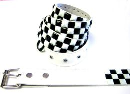 48 Units of Pyramid Studded Black & White Belt - Unisex Fashion Belts