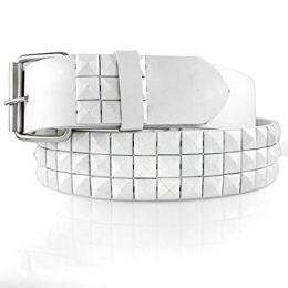 48 Units of Pyramid Studded White Belt - Unisex Fashion Belts