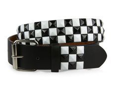 48 Units of Studded Black & White W/splatter On Black Belt - Unisex Fashion Belts