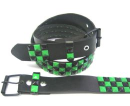 48 Units of Black & Green Studded Belt On Black - Unisex Fashion Belts