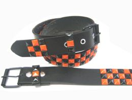 48 Units of Pyramid Studded Black & Orange Belt - Unisex Fashion Belts