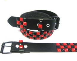 48 Units of Pyramid Studded Black & Red Belt - Unisex Fashion Belts