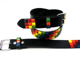 48 Units of Pyramid Studded Rainbow Belt - Unisex Fashion Belts