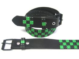 48 Units of Pyramid Studded Black & Green Belt - Unisex Fashion Belts