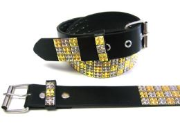 48 Units of Pyramid Studded Gold & Beige Belt - Unisex Fashion Belts