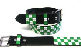 48 Units of Pyramid Studded White & Green Belt - Unisex Fashion Belts