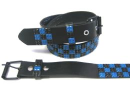 48 Units of Pyramid Studded Black & Blue Belt - Unisex Fashion Belts