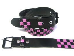 48 Units of Pyramid Studded Black & Pink Belt - Unisex Fashion Belts