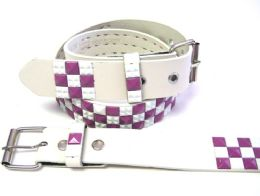 48 Units of Pyramid Studded White & Purple Belt - Unisex Fashion Belts