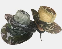 48 Units of Camo W/ Mesh Hat (Dozen)Color Assorted - Cowboy & Boonie Hat