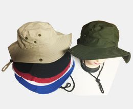 60 Units of Bucket Fishing Sun Hat In Assorted Colors - Cowboy & Boonie Hat