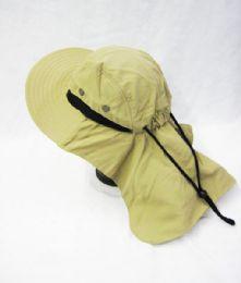 24 Units of Mens Boonie / Hiking Cap Hat Khaki Color - Bucket Hats