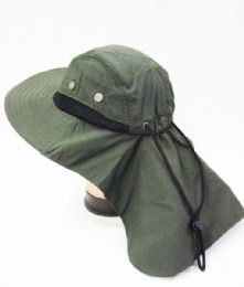24 Units of Mens Boonie / Hiking Cap Hat Olive Color - Bucket Hats