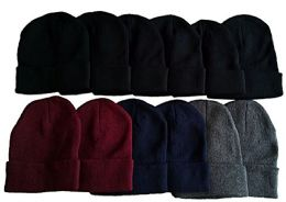 excell 12 Pairs Value Pack of Fleece Hats, Unisex Headwear - Winter Beanie Hats