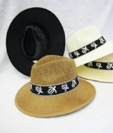 36 Units of Mens Straw Fedora Hat With Turtle - Cowboy & Boonie Hat